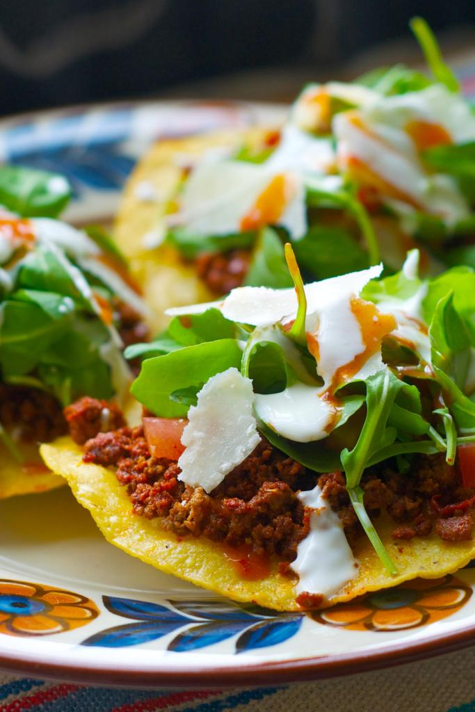 Tostadas with Cacique Chorizo and Chile de Arbol Salsa