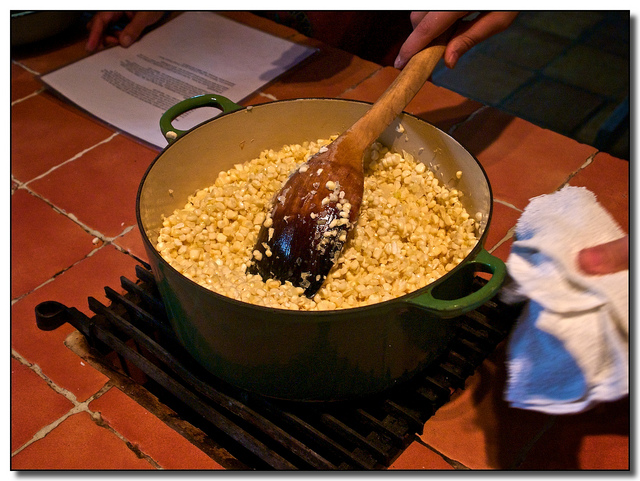 Making Esquites: Oaxacan Style Corn Soup